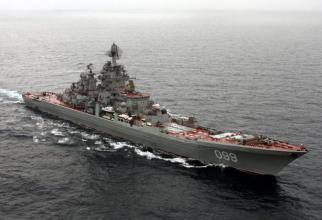 crucișătorul cu propulsie nucleară al Flotei de Nord, Petru cel Mare. Sursa Foto: Ministerul rus al Apararii