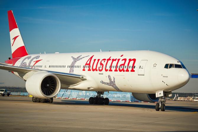 Avion compania Austrian Airlines Sursa foto: Austrian Airlines/Twitter