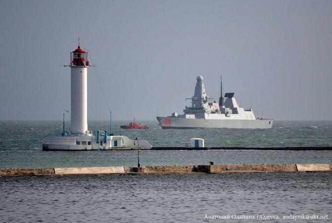Distrugatorul HMS Dragon al Royal Navy în portul Odessa, Ucraina. Sursa Foto: Twitter Royal Navy