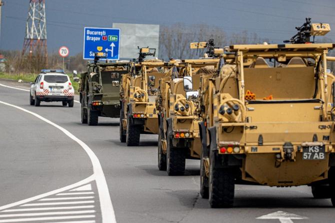 Convoi britanic al Royal Army, traversând România. Sursă foto: UK Defence Journal