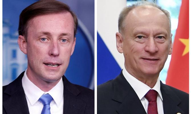 Consilierul american pentru securitate națională Jake Sullivan (Dreapta) și secretarul Consiliului de Securitate rus Nikolai Patrushev