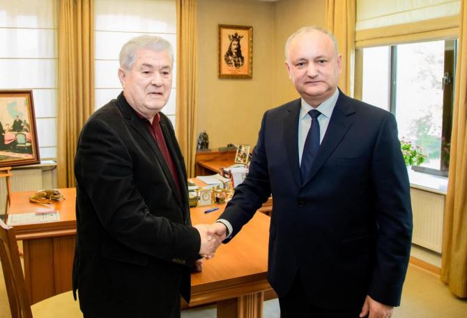 Vladimir Voronin, liderul comuniștilor și Igor Dodon, liderul socialiștilor din Republica Moldova. Sursă foto: Igor Dodon Facebook