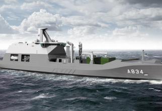 HNLMS Den Helder, nava de suport logistic care va fi construită în România sursă foto: Damen