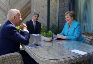 Președintele american Joe Biden, în timpul unei întrevederi cu Angela Merkel, cancelarul Germaniei. Sursă Foto: President Joe Biden @POTUS  · Oficial guvernamental