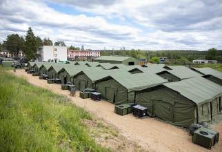 Tabăra de refugiați din Pabradė, estul Lituaniei. Sursa foto: BNS