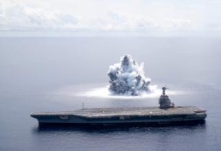 """Testarea portavionului USS Gerald R. Ford prin detonarea explozibilului subacvatic ce a produs un """"cutremur"""" de 3.9 pe Richter. Sursă foto: USS Gerald R. Ford (CVN 78) Twitter"""