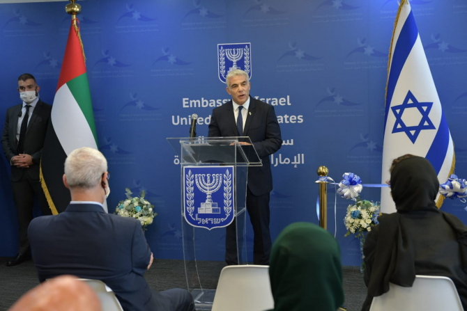 Șeful diplomației israeliene, Yair Lapid a inaugurat prima ambasadă în Emiratele Arabe Unite  Sursa foto: Yair Lapid/Twitter