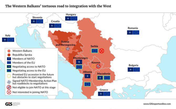 O hartă a Balcanilor, privind integrarea în UE și NATO, în 2018. Sursă foto: Geopolitical Intelligence Services - www.GISreportsonline.com