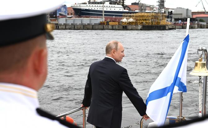 Președintele Vladimir Putin, cu ocazia Zilei Marinei Federației Ruse. Sursă foto: Kremlin