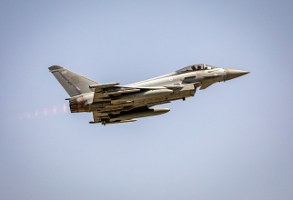 Un Eurofighter Typhoon al Marii Britanii, în timpul misiunii de Poliție Aeriană de la Kogălniceanu. Sursă foto: NATO
