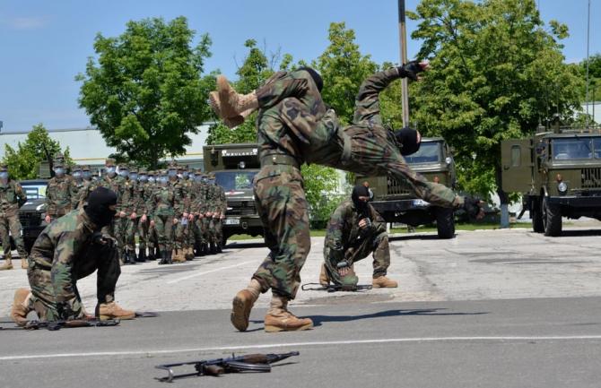 Militari ai Republicii Moldova în timpul unei demonstrații. Sursă foto: Ministerul Apărării al Republicii Moldova
