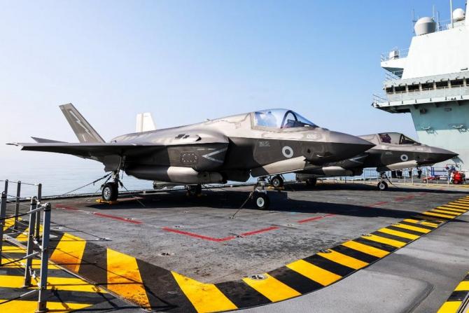Avioane F-35, aflate la bordul portavionului britanic HMS Prince of Wales. Sursă foto: Royal Navy