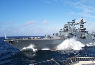 Distrugătorul Amiral Vinogradov, parte a Flotei Ruse din Pacific. Sursă foto: Ministerul Apărării din Federația Rusă