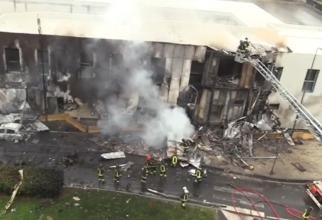 Incendiu provocat după prăbușirea avionului Pilatus PC-12 lângă Milano. Sursă foto: Știri Diaspora