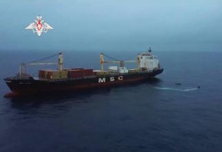 Nava Lucia, capturată de pirați și eliberată de forțele antitero ruse. Sursă foto: Captură YouTube Zvezda TV, Ministerul Apărării de la Moscova