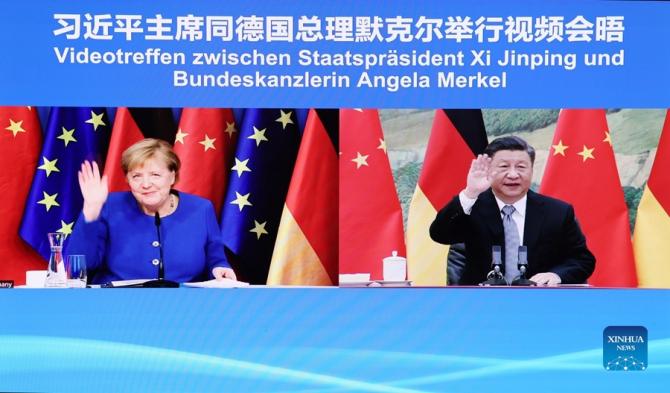 Angela Merkel, în timpul videoconferinței cu Xi Jinping, sursă foto: Ministerul Apărării din China